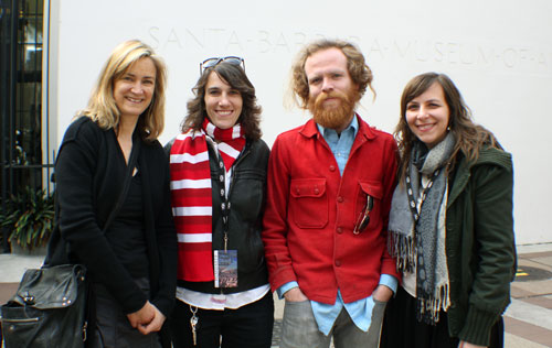 "The proud ""Life on the Line"" crew at the Santa Barbara screening.  From L to R: Elizabeth Finlayson, Additional Editor; Sally Rubin, Co-Director and Editor; Jason Cirimele, Animator and Composer; and Jen Gilomen, Co-Director and Cinematographer"