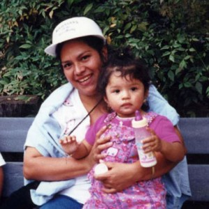 Laura around age three with her mom. Laura's mother was undocumented when she was young.